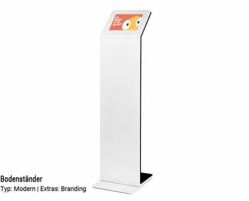 Feedback-Terminal-Bodenständer-weiß-Modern