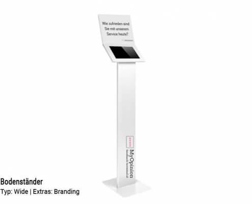 Feedback-Terminal-Bodenständer-Wide-branding-weiß